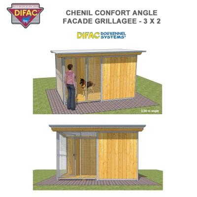 Chenil Confort angle grillagé 3 x 2 mètres