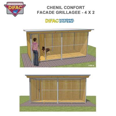 Chenil Confort grillagé 4 x 2 mètres