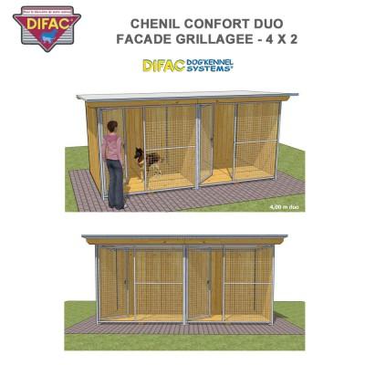 Chenil Confort duo grillagé 4 x 2 mètres