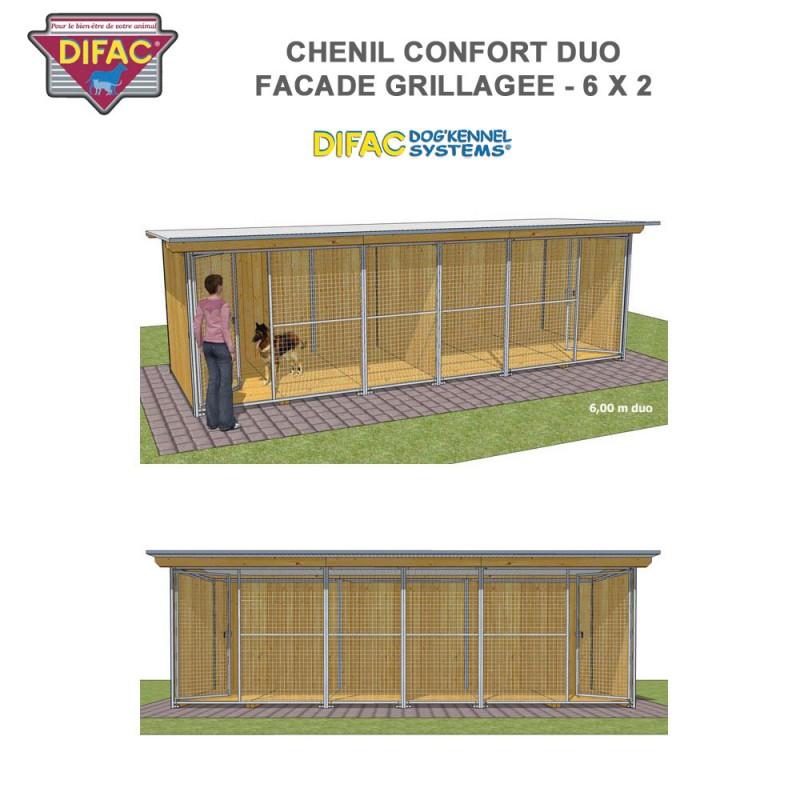Chenil Confort duo grillagé 6 x 2 mètres