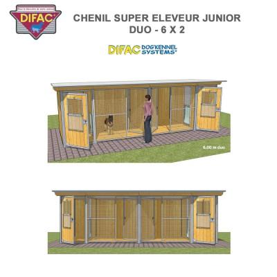 Chenil Super éleveur junior duo 6 x 2 mètres