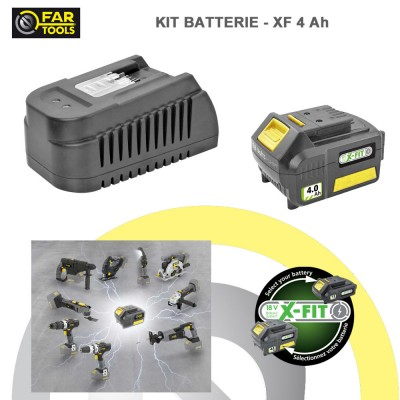 Kit batterie de rechange XFIT Li-ion 18 volts 4 AH