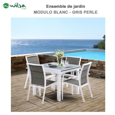 Salon de jardin Modulo 4  places Blanc/Gris Perle