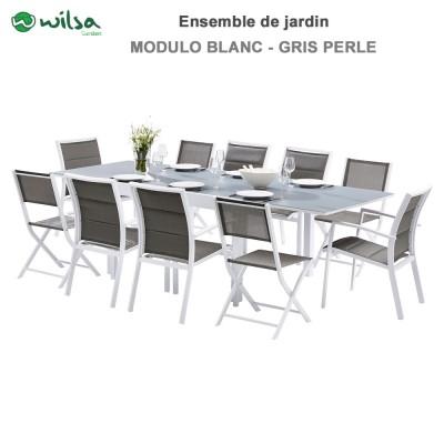 Salon de jardin Modulo 6/10  places Blanc/Gris Perle - F6+C4