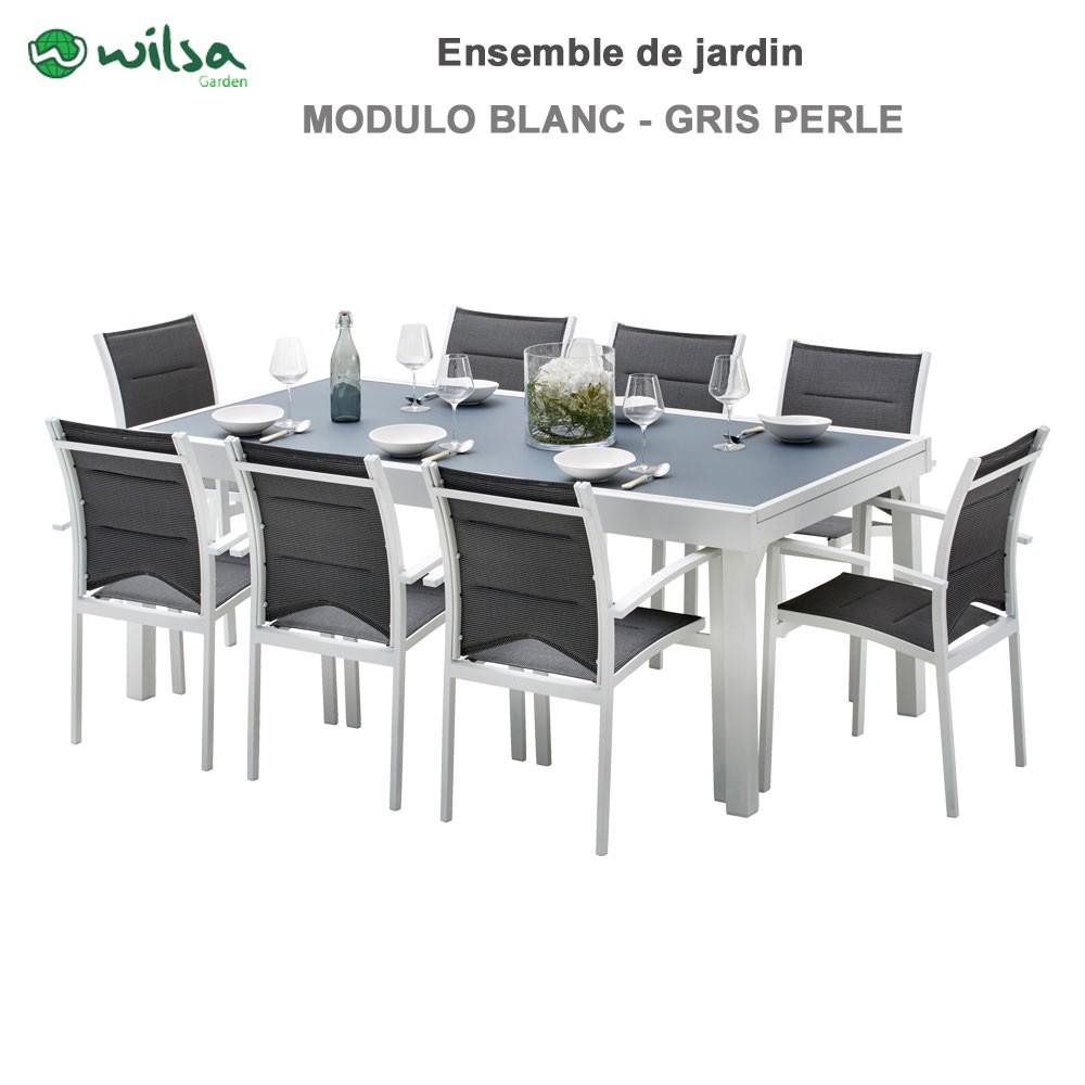 Salon de jardin Modulo 8 places Blanc/Gris Perle - F8