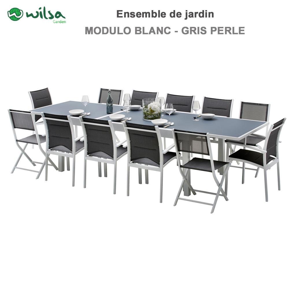 Salon de jardin Modulo 8/12 places Blanc/Gris Perle - F8+C4