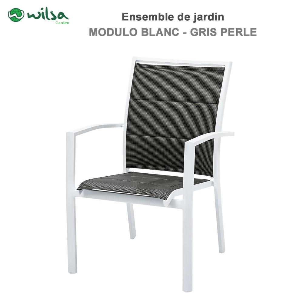 Salon de jardin modulo 8 12 places blanc gris perle f12603260 wil for Salon de jardin gris 8 places