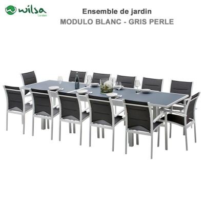 Salon de jardin Modulo 8/12 places Blanc/Gris Perle - F12