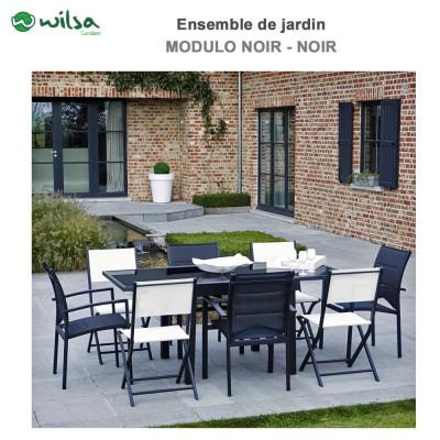 Salon de jardin Modulo 4/8 places noir - F4+C4