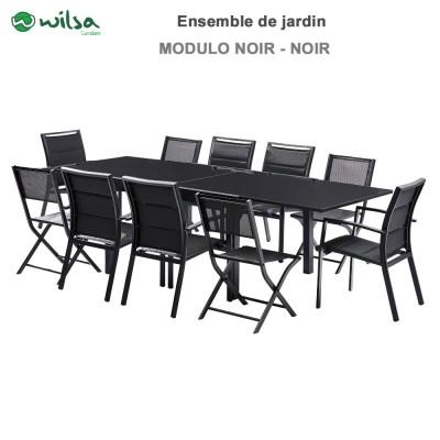 Salon de jardin Modulo 6/10  places noir - F6+C4