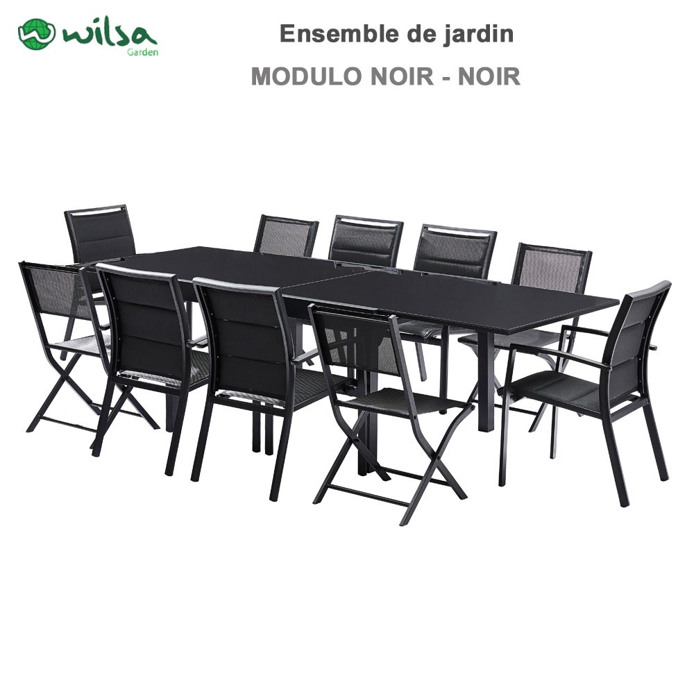 salon de jardin modulo 6 10 places noir f6 c4 1. Black Bedroom Furniture Sets. Home Design Ideas