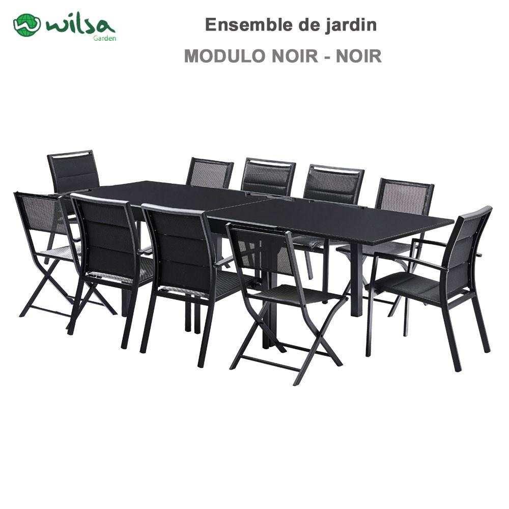 salon de jardin modulo 6 10 places noir f6 c4 1. Black Bedroom Furniture Sets. Home Design Ideas