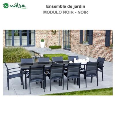 Salon de jardin Modulo 6/10 places noir - F10