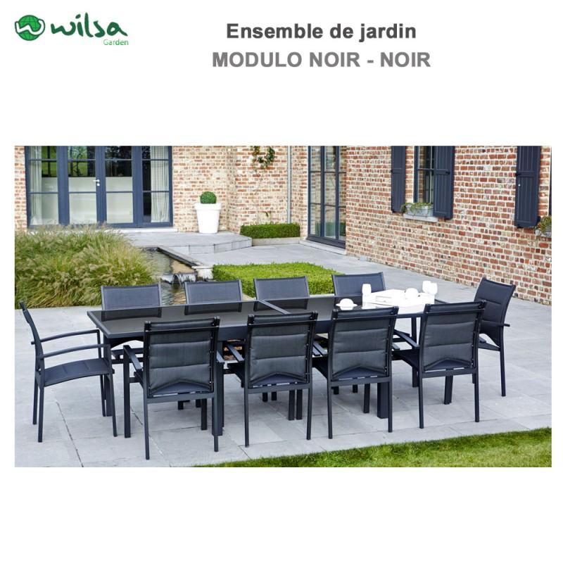salon de jardin modulo 6 10 places noir f10 1. Black Bedroom Furniture Sets. Home Design Ideas