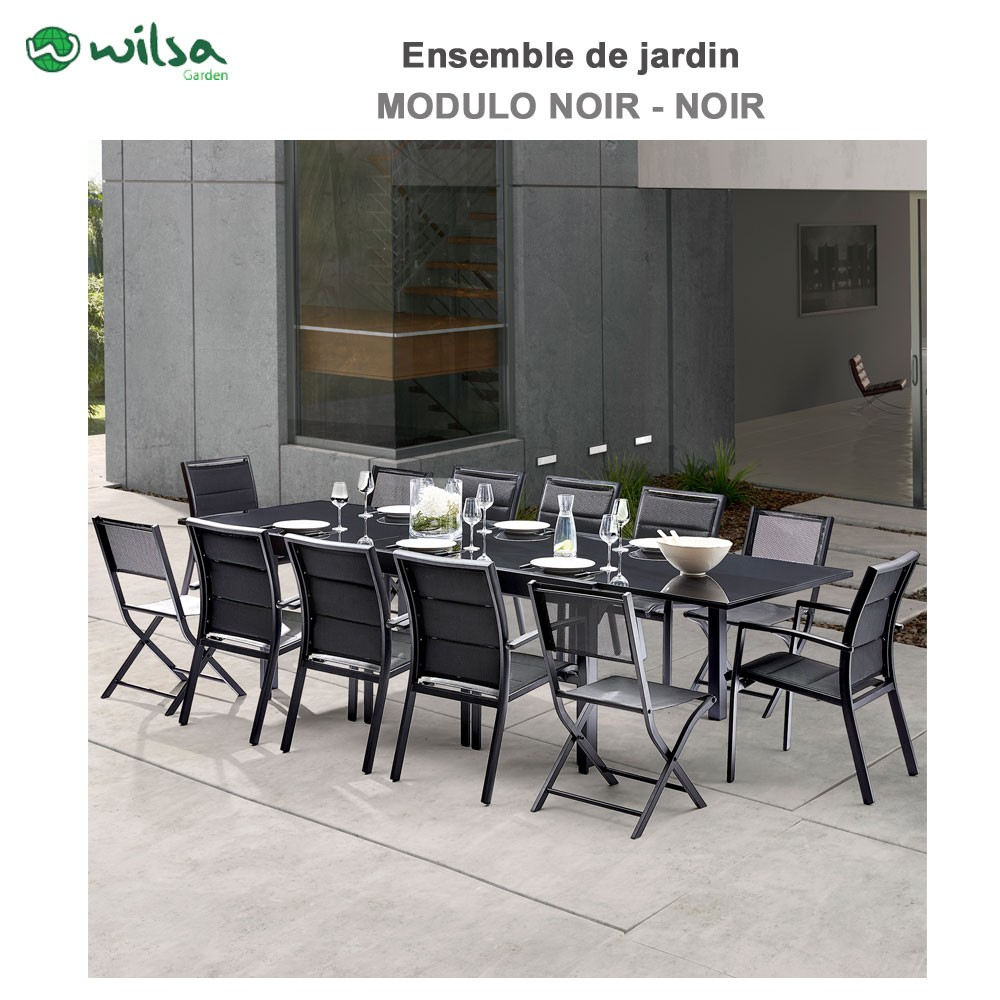 Salon de jardin modulo 8 12 places noir f8 c4 1 for Salon de jardin 8 places