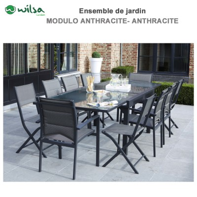 Salon de jardin Modulo 4/8 places Gris - F4+C4