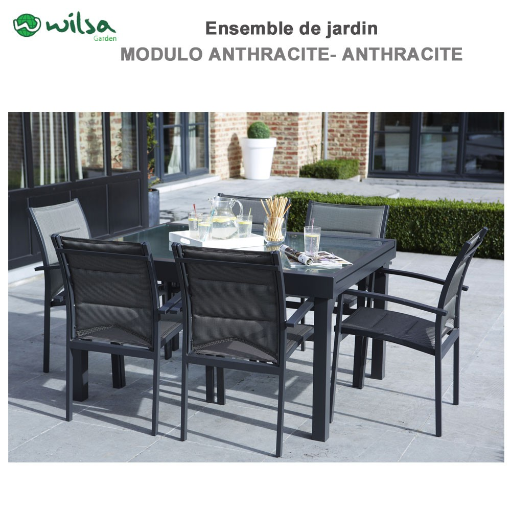 salon de jardin modulo 6 places gris f6 1. Black Bedroom Furniture Sets. Home Design Ideas