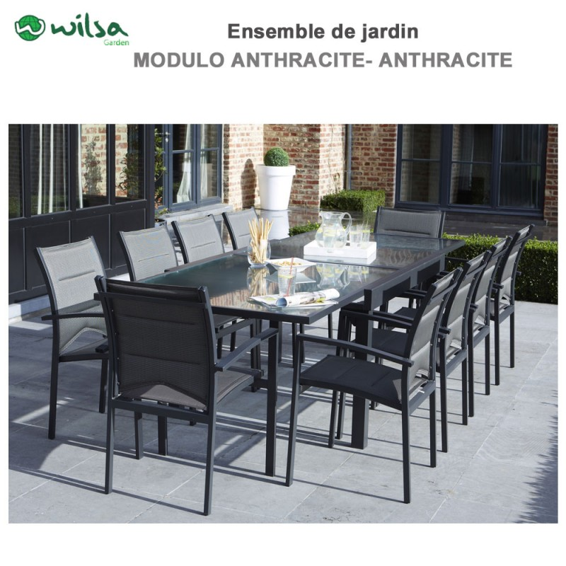 salon de jardin modulo 6 10 places gris f10 1. Black Bedroom Furniture Sets. Home Design Ideas
