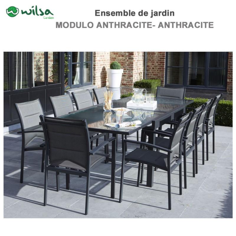 salon de jardin modulo 6 10 places gris f10 1. Black Bedroom Furniture Sets. Home Design Ideas