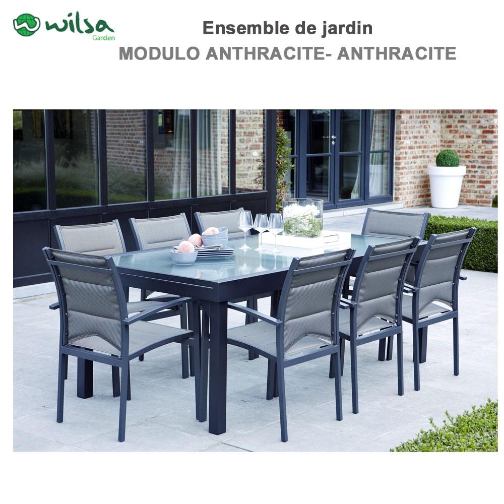 Salon de jardin modulo 8 places gris f8 - Salon de jardin aluminium 8 places ...