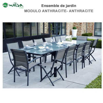 Salon de jardin Modulo 8/12 places Gris - F12