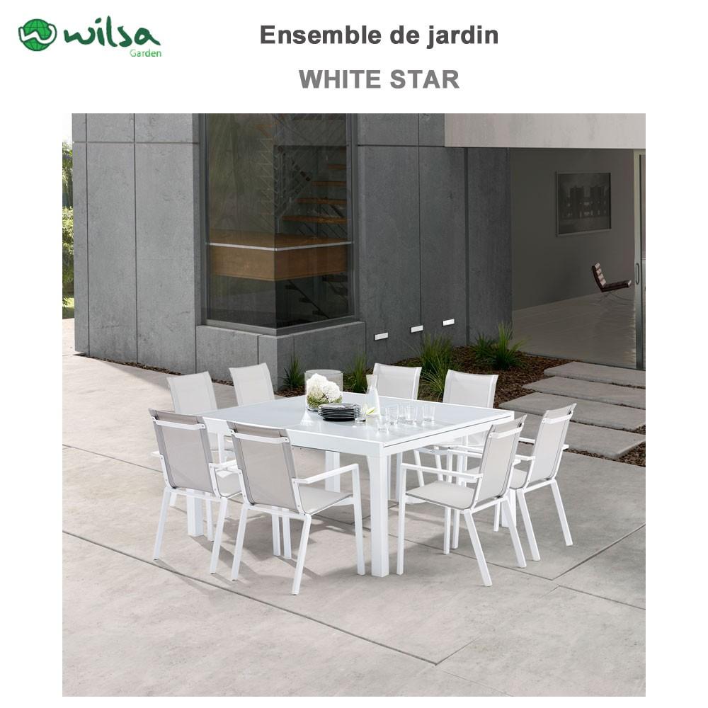 Salon de jardin whitestar 8 12 places blanc f8 - Salon de jardin aluminium 8 places ...