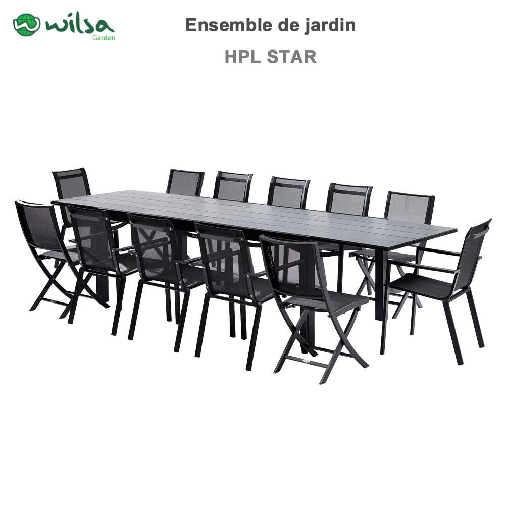 salon de jardin hpl star noir 12 places noir 2. Black Bedroom Furniture Sets. Home Design Ideas