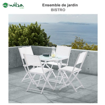 Salon de jardin Terrasse 4  places Blanc