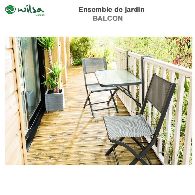 mobilier de jardin balcon 2 places anthracite. Black Bedroom Furniture Sets. Home Design Ideas
