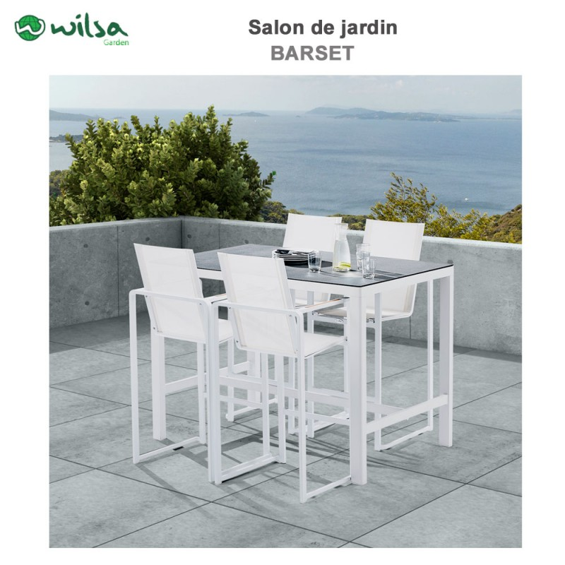 mobilier de jardin barset stone blanc 4 places604070 wilsa garden. Black Bedroom Furniture Sets. Home Design Ideas