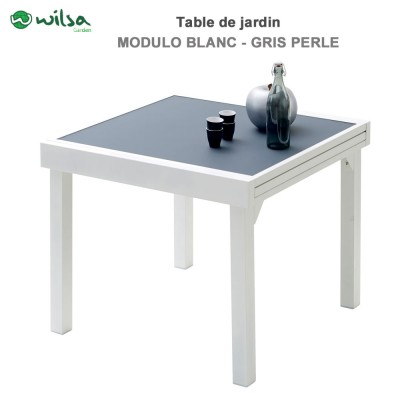 Table de jardin Modulo 4/8 places Blanche/Gris Perle