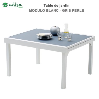 Table de jardin Modulo 6/10 places Blanche/Gris Perle
