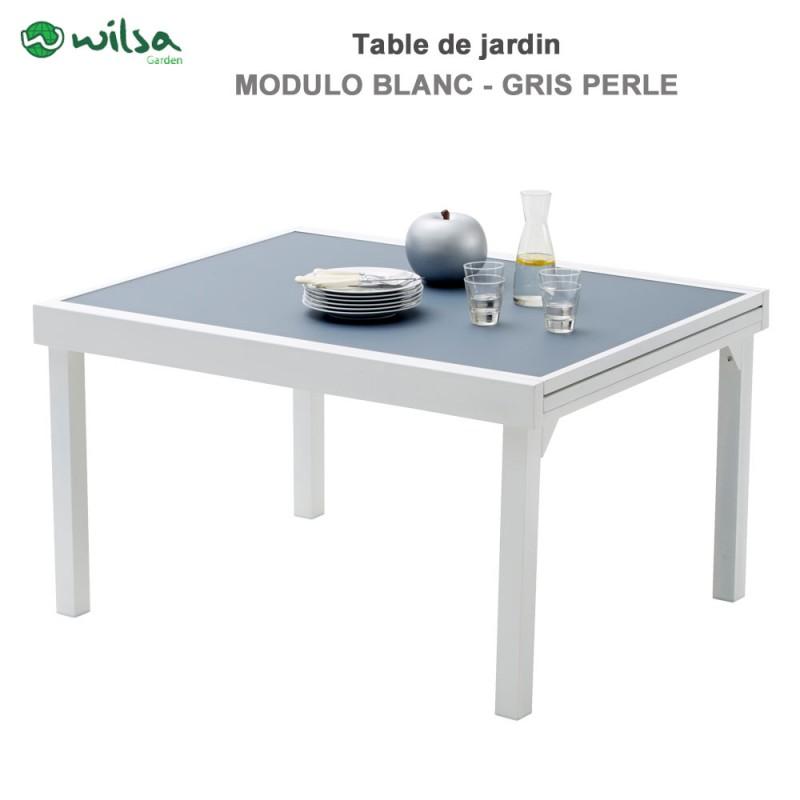 table de jardin modulo 6 10 places blanche gris perle. Black Bedroom Furniture Sets. Home Design Ideas