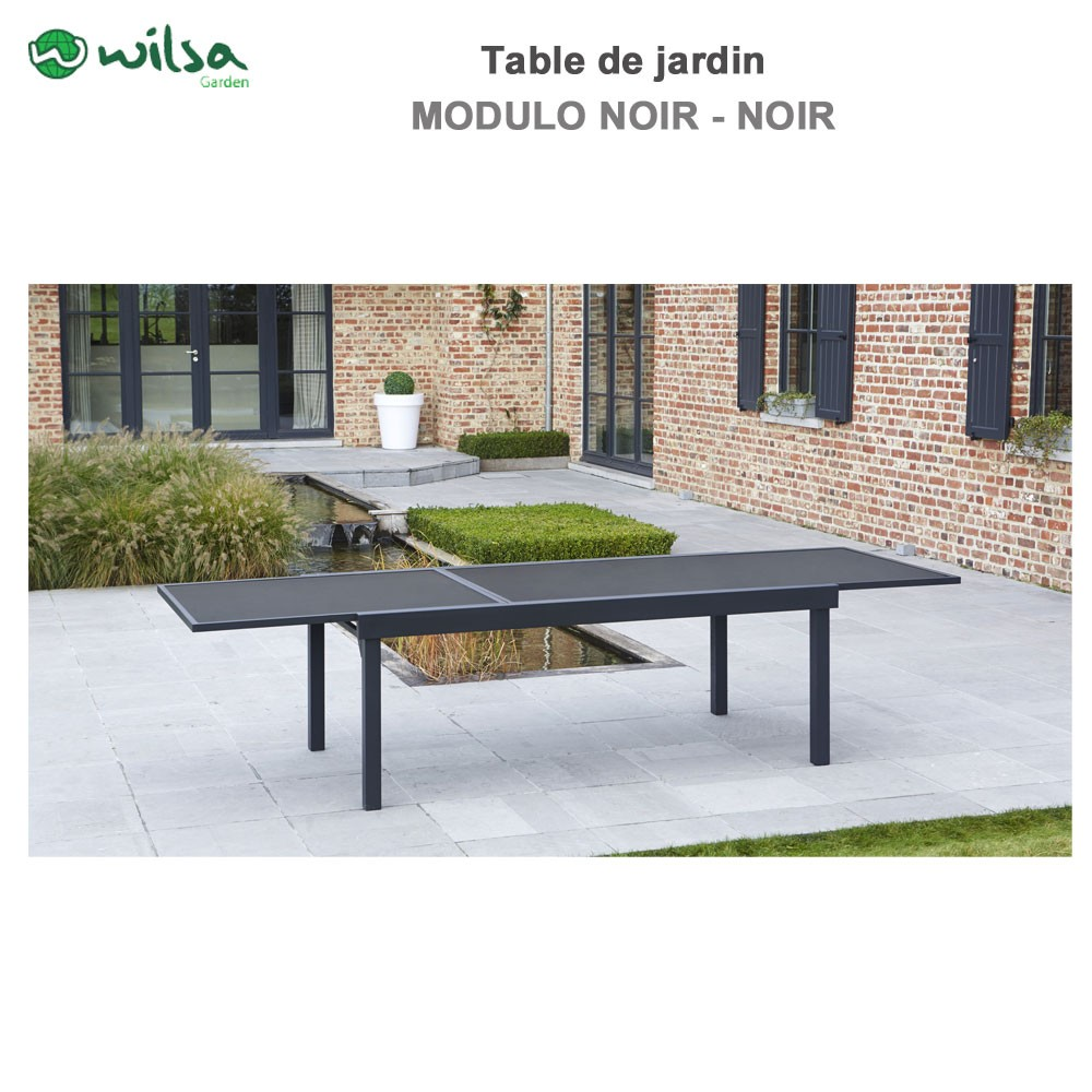 Table de jardin modulo 8 12 places noir602630 wilsa garden for Cafard noir de jardin