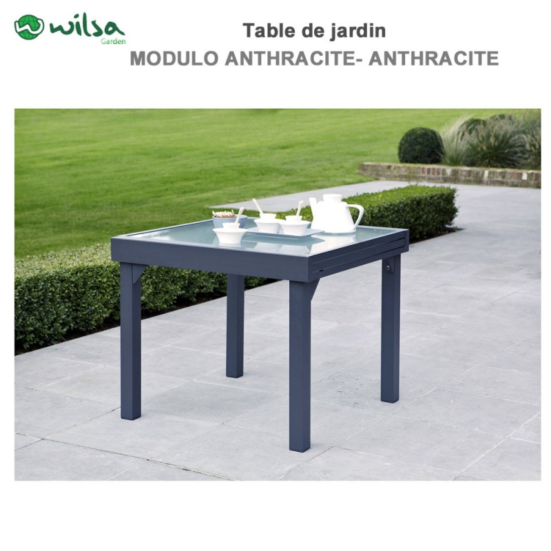table de jardin modulo 4 8 places grise. Black Bedroom Furniture Sets. Home Design Ideas