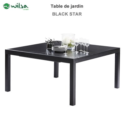 Table de jardin Black Star noir 8/12 places