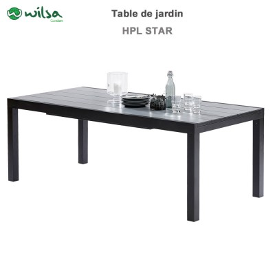 Table de jardin HPL Star noir 8/12 places