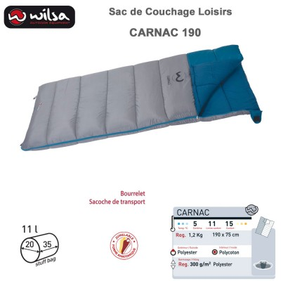 Sac de couchage loisir Carnac gris bleu 190