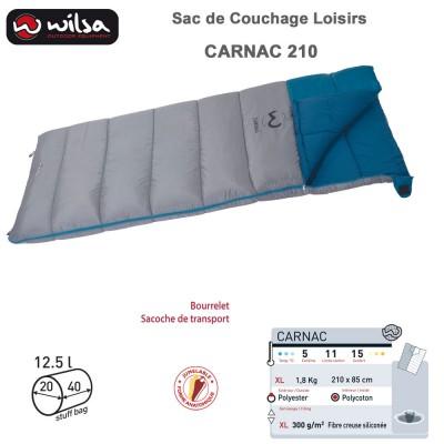 Sac de couchage jumelable loisir Carnac gris bleu XL 210