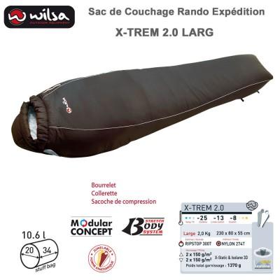 Sac de couchage jumelable grand froid expédition X-TREM 2.0 Large - 230