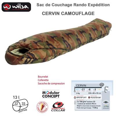 Sac de couchage jumelable grand froid expédition Cervin Camouflage - 230