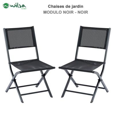 Lot de 2 Chaises de jardin pliantes Modulo Noir