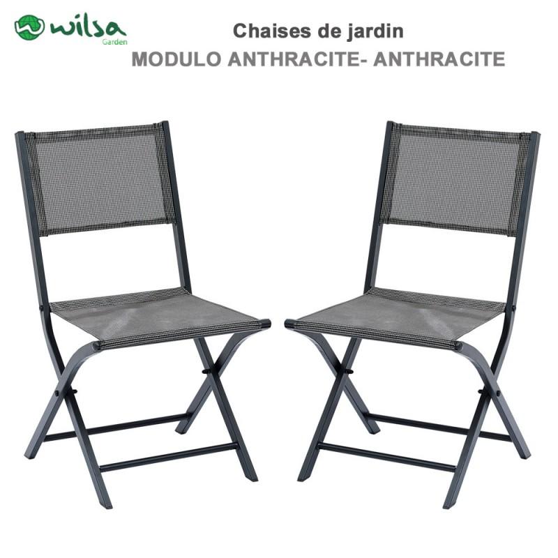 chaises de jardin pliantes modulo grise lot de 2. Black Bedroom Furniture Sets. Home Design Ideas