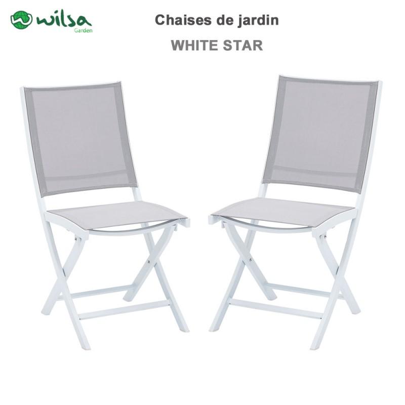 Chaise de jardin pliante Tulum/Whitestar blanc - Lot de 2