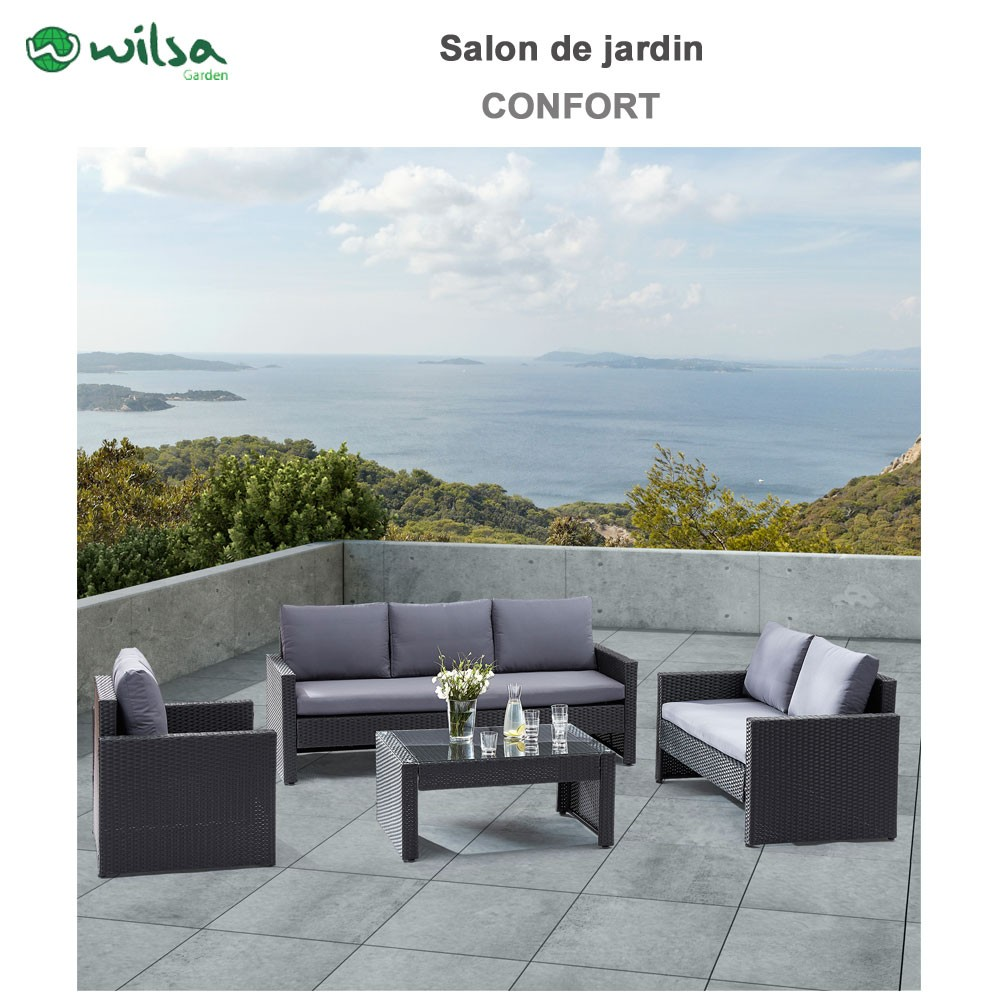 salon de jardin confort verre noir 5 wilsa garden. Black Bedroom Furniture Sets. Home Design Ideas