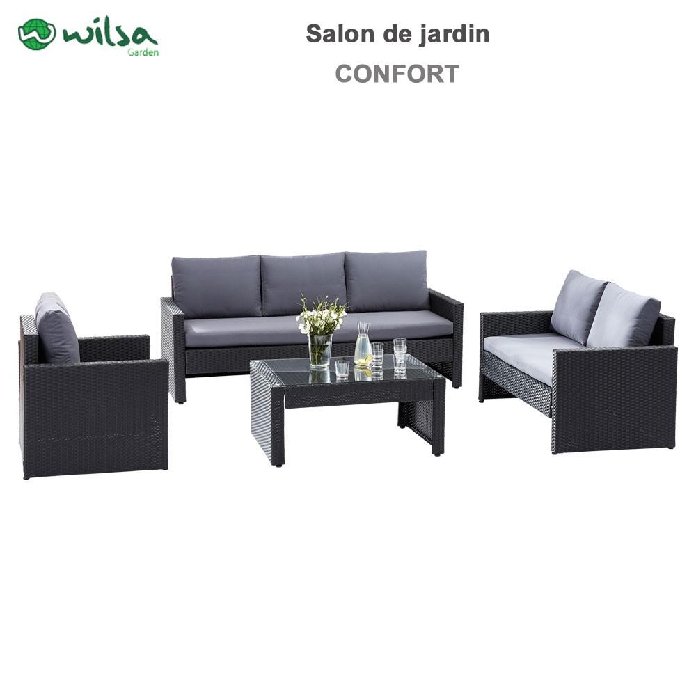 Salon de jardin confort verre noir 5 wilsa garden for Salon de jardin noir