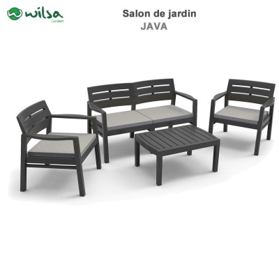 Salon de jardin Java anthracite 4 pers.