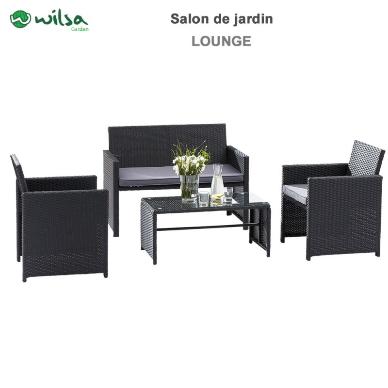 Salon de jardin Lounge verre noir 4 pers