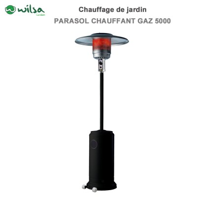 Parasol chauffant au gaz 5000 W noir