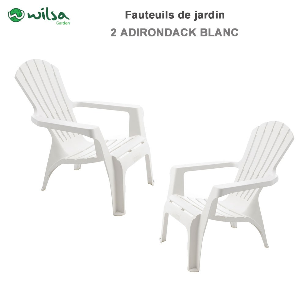 lot de 2 fauteuils adirondack blanc600065 wilsa garden. Black Bedroom Furniture Sets. Home Design Ideas